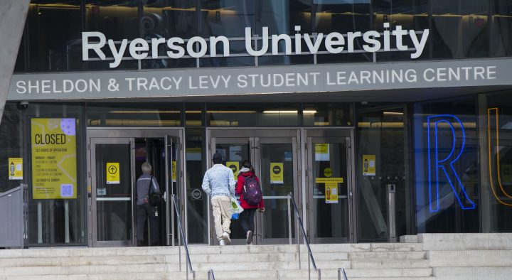 People arrive at Sheldon & Tracy Levy Student Learning Center at Ryerson University on Oct. 20, 2020.