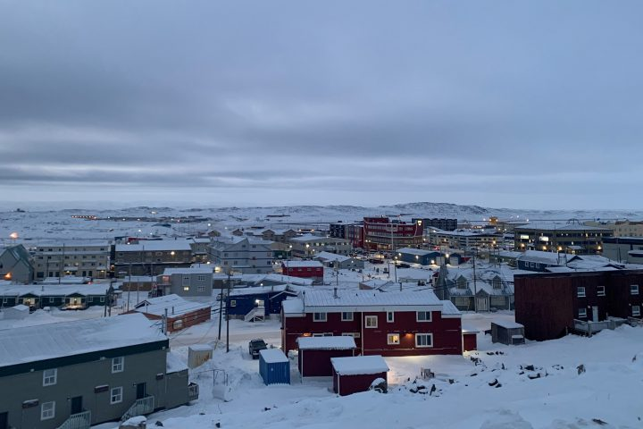 Downtown Iqaluit, Nunavut, is shown after 2 p.m. sunset on Tuesday, Nov. 24, 2020. Iqaluit, like the rest of Nunavut, is under a strict two-week lockdown to help stop the spread of COVID-19.