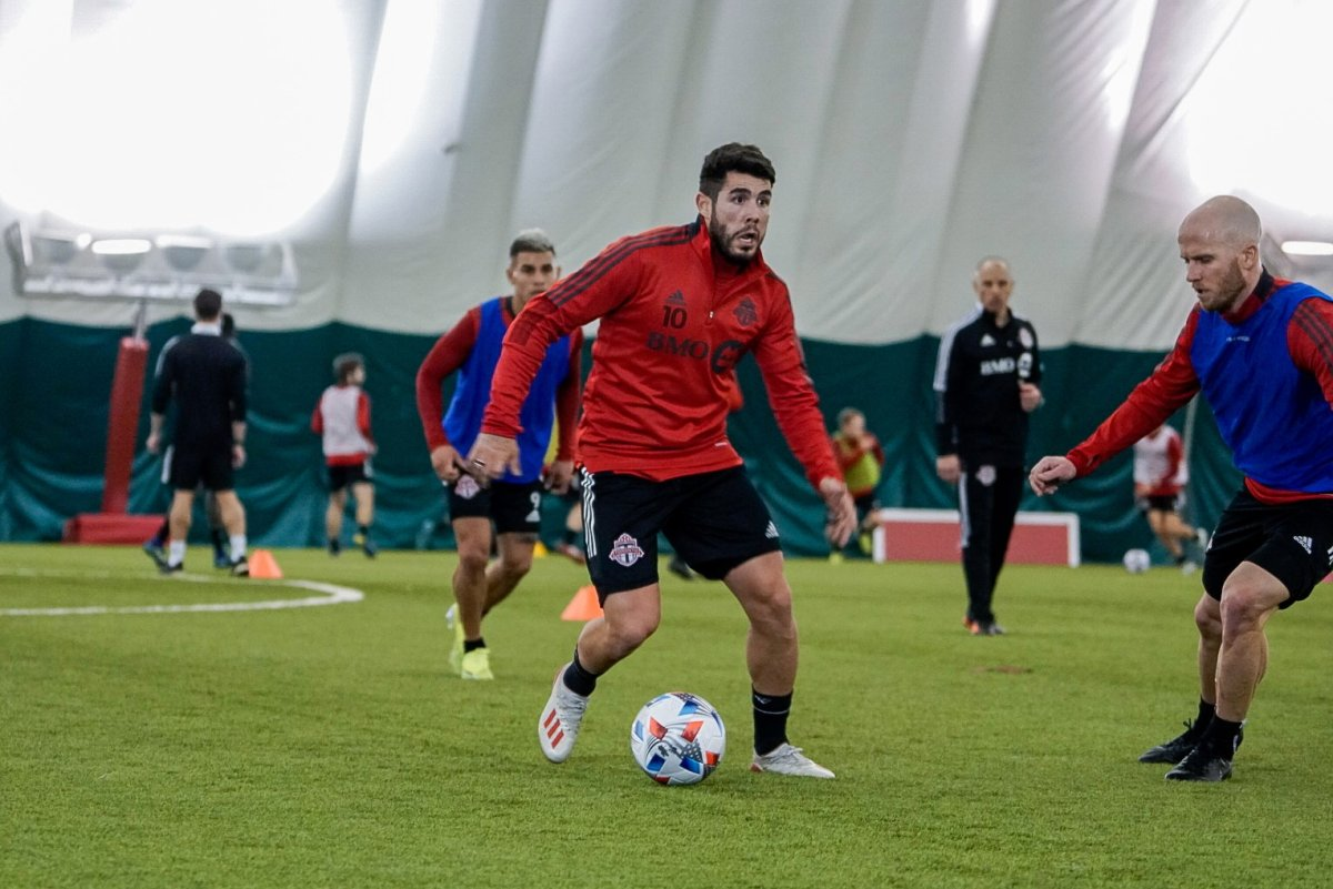 Alejandro Pozuelo dribbles the ball during a training session in Toronto on Wednesday, February 17, 2021 in this handout photo.