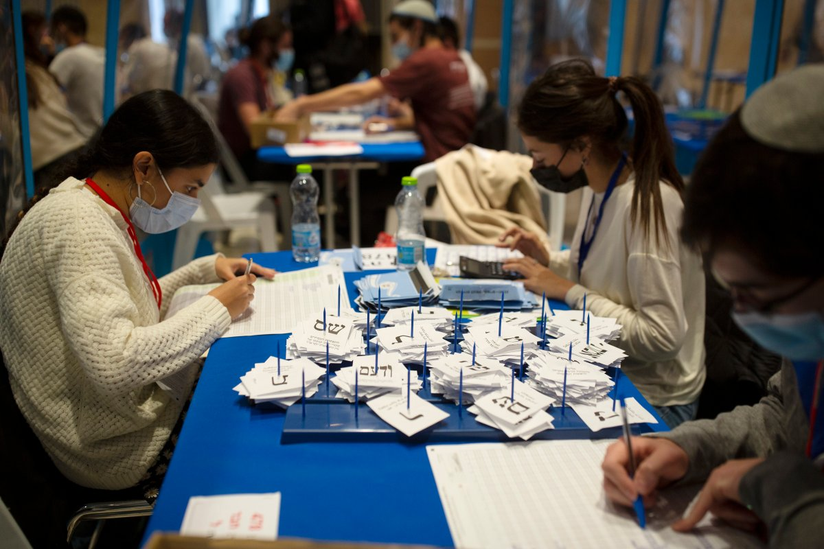 Workers count votes in Israel's national elections wearing and divided in groups by sheets of plastic masks to help curb the spread of the coronavirus, at the Knesset in Jerusalem, Thursday, March 25, 2021.