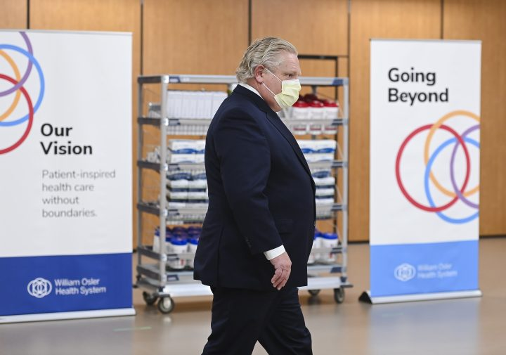 Ontario Premier Doug Ford hold a press conference after visiting the William Osler Health System - Peel Memorial Centre for Integrated Health and Wellness during the COVID-19 pandemic in Brampton, Ont., on Friday, March 26, 2021.