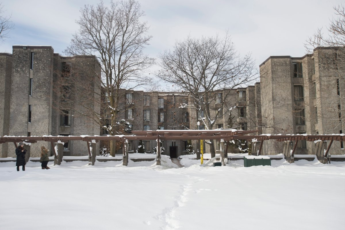 Exteriors of Champlain College, at Trent University in Peterborough, Ont., are photographed on Feb. 13, 2018. A COVID-19 outbreak has been declared at the residence.
