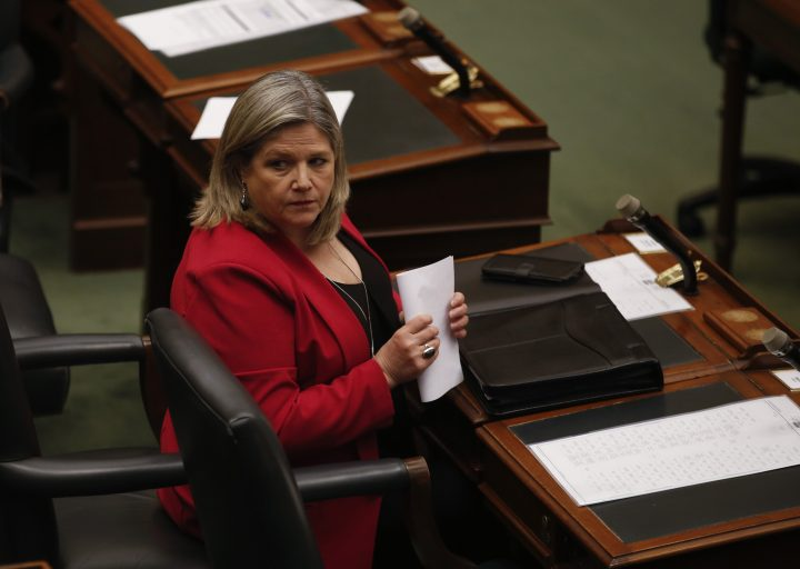 Ontario NDP Leader Andrea Horwath looks on inside the Ontario Legislature at Queen's Park in Toronto on Tuesday, May 19, 2020.