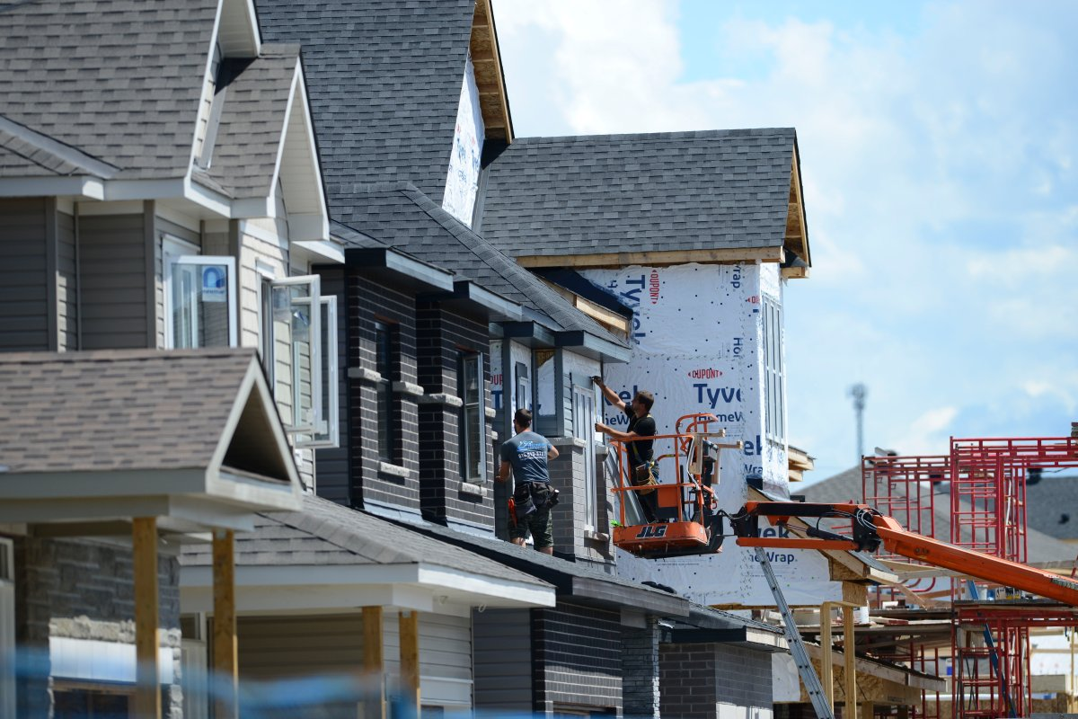 A new home is built in a housing development in Ottawa on Tuesday, July 14, 2020.