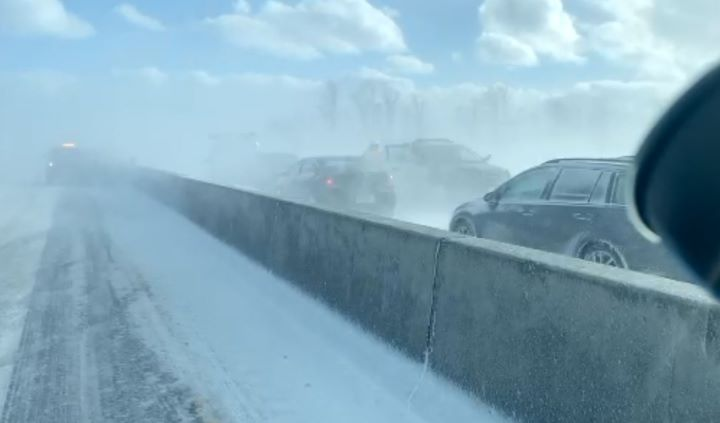 Highway 400 is closed in both directions between Highway 88 and Mapleview Drive amid whiteout conditions and a multivehicle pileup, OPP say.