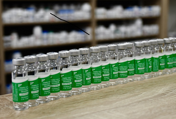 A photo of the Oxford-AstraZeneca vaccine at a Toronto pharmacy on March 29, 2021.