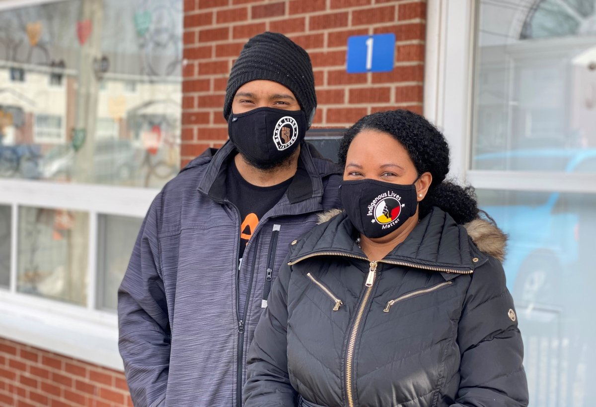 Deidra Williams and Sinclair Paynter stand in front of their Albro Lake Co-op unit in Dartmouth N.S.