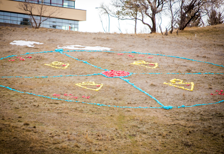 An Indigenous art piece on the hill below the Dhillon School of Business. Created by Sarah Russell (BA '19).