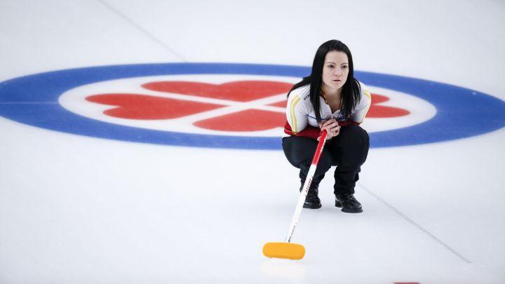 Team Canada skip Kerri Einarson watches her shot against Team Ontario in the final at the Scotties Tournament of Hearts in Calgary, Alta., Sunday, Feb. 28, 2021.