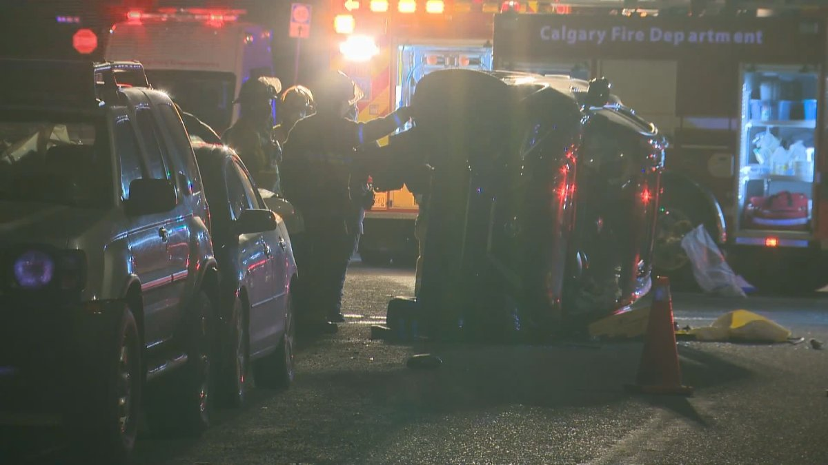 Calgary police investigate a crash on Falton Drive Northeast on Tuesday, March 30, 2021.