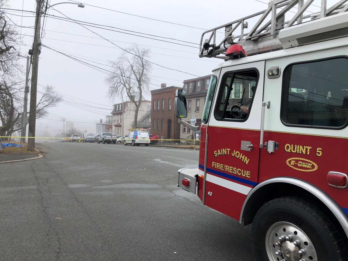 Emergency crews responded to a natural gas leak on Broad Street in Saint John, N.B., on March 25, 2021.