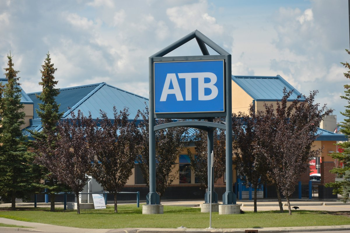 A general view of a ATB logo seen in South Edmonton Common.