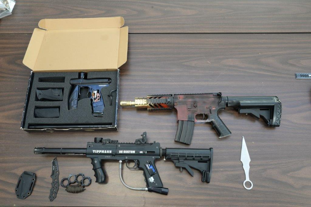 Guelph police say officers seized weapons while carrying out a search warrant on Wednesday.