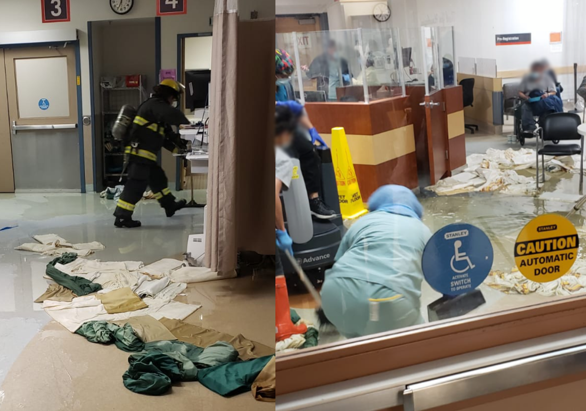 Crews and staff clean up the ER at HSC Thursday morning.