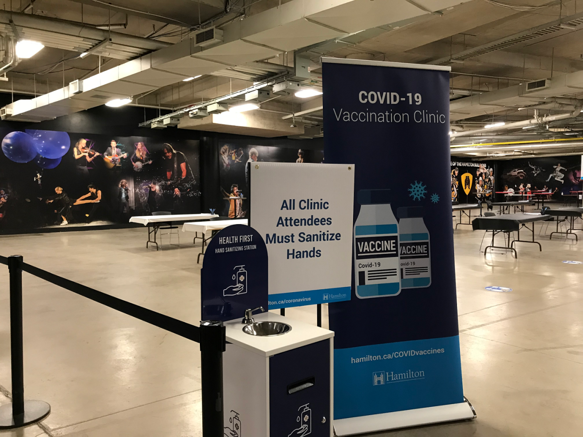 Hamilton's large-scale COVID-19 vaccination clinic at FirstOntario Centre began operating on Monday.