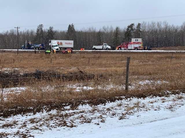 A semi and a passenger vehicle collided on Highway 18 at Range Road 242, north of Edmonton near Westlock, on Wednesday, March 24, 2021.