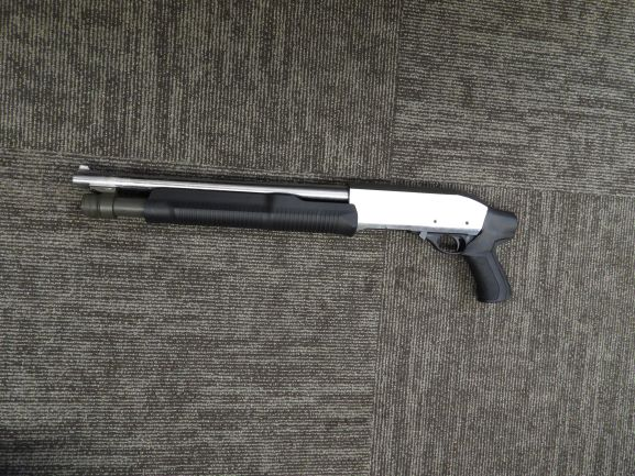 A firearm Manitoba Mounties say they seized during a pair of raids on Friday.