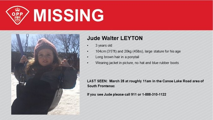 OPP are looking for three-year-old Jude Leyton who went missing in South Frontenac Sunday morning.