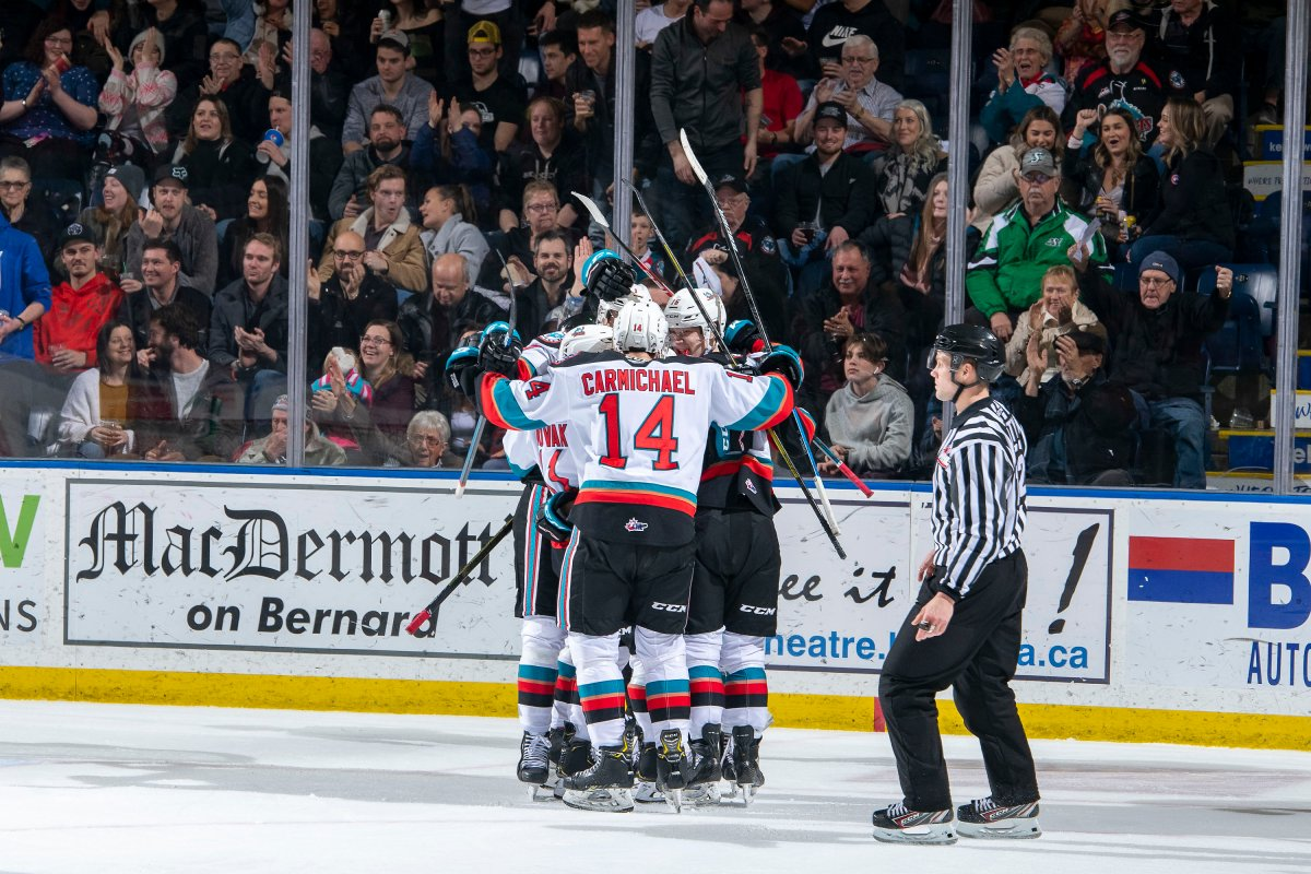 Seen here celebrating a goal last season, the Kelowna Rockets will host the Victoria Royals when their COVID-19 shortened season starts on Friday, March 26.