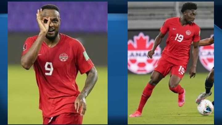 Cyle Larin (left) scored three goals, with Alphonso Davies (right) playing provider each time, as Canada opened its oft-delayed World Cup qualifying campaign Thursday with a comfortable 5-1 win over Bermuda.