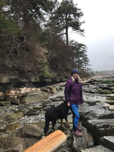 Meg Savory and her dog Cuska often scour the beach at Dunlop Point, Hornby Island, for trash to properly dispose of. (Submitted)
