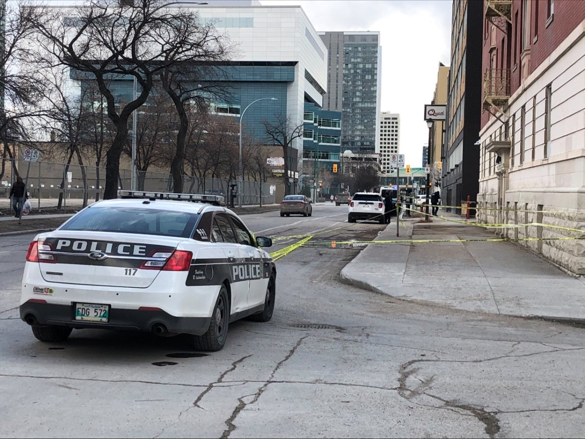 Police are on scene investigating an assault in the area of Carlton Street./GLOBAL NEWS.
