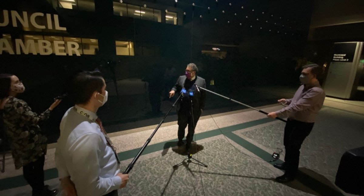 Mayor Naheed Nenshi addresses reporters following three days of public hearing on the Guidebook for Great Communities, pictured on March 24, 2021.
