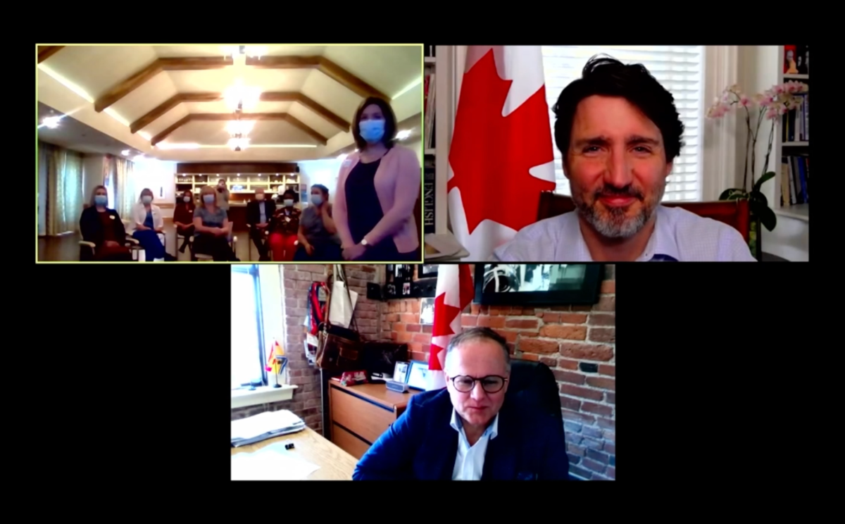 Prime Minister Justin Trudeau joined Saint John-Rothesay MP Wayne Long and staff from Parkland Saint John long-term care facility for a virtual chat on Tuesday, March 16, 2021.