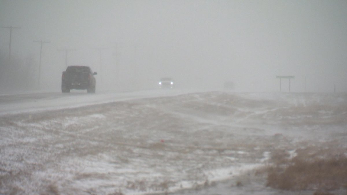 The winter storm pushed into western Saskatchewan early Monday morning and by noon, had reached central regions of the province.
