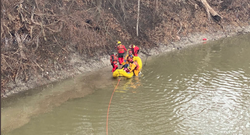 Engine 1 Crew rescues person from Thames river and WIRT Team transports victim in RDC to shore on March 1, 2021.