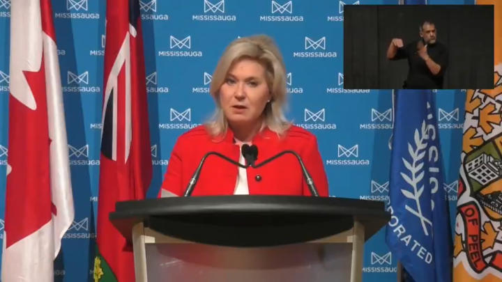 Mississauga Mayor Bonnie Crombie speaks during a press conference on Wednesday.