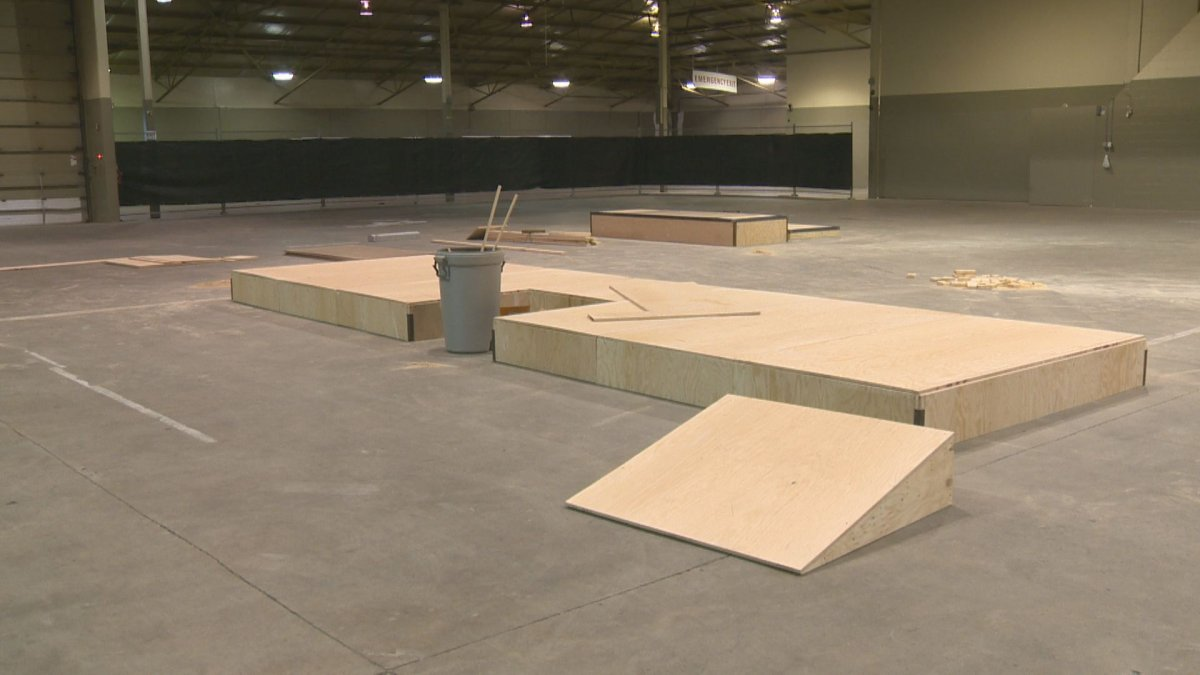 """""""Phase 1"""" of the Regina Skateboarding Coalition's new indoor skatepark project is seen in the Agribition Building."""