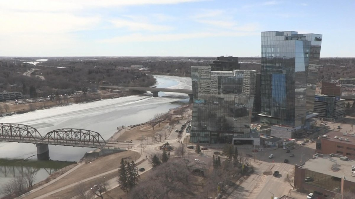 A recent picture of Saskatoon's river landing area on a sunny day.