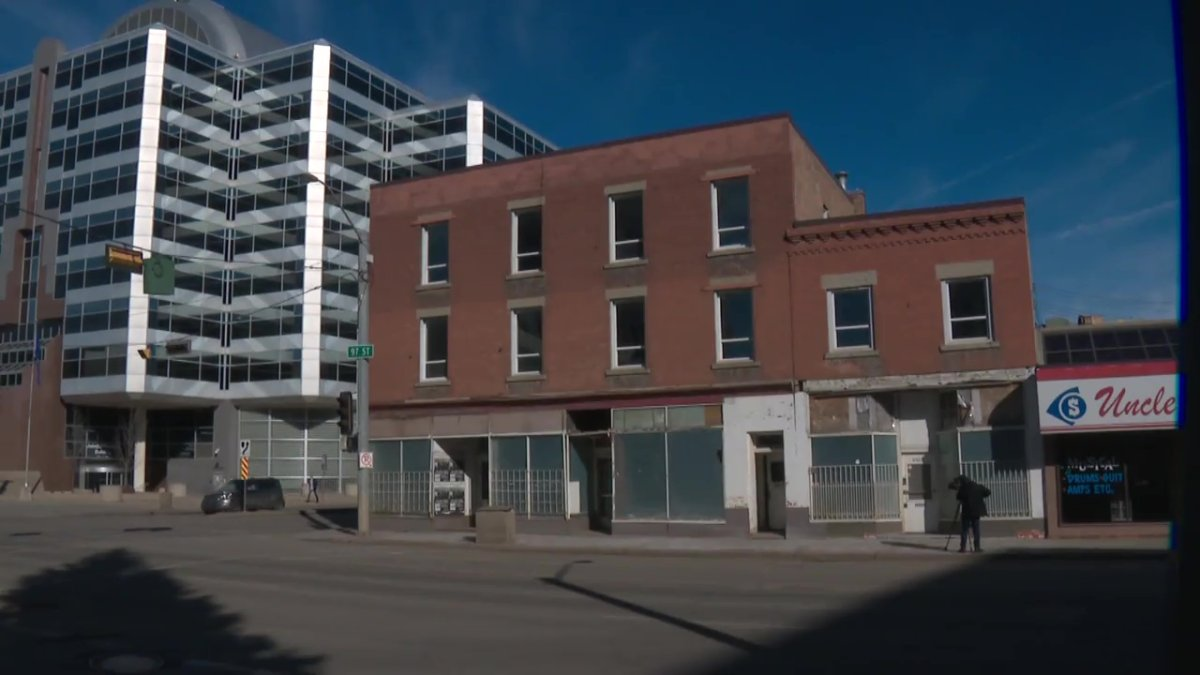 The Stovel Block, located at on 97 Street near the Royal Alberta Museum, in Edmonton, Alta. on March 9, 2021.