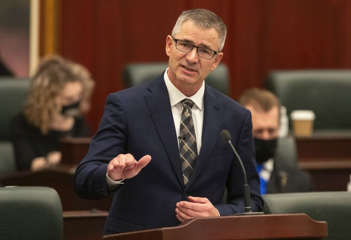 Alberta Minister of Finance and President of the Treasury Board, Travis Toews delivers the 2021 budget in Edmonton Alta, on Thursday February 25, 2021.