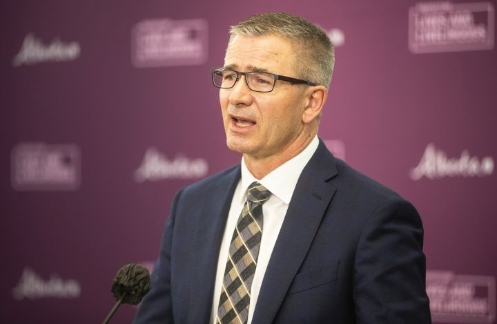 Alberta Minister of Finance and President of the Treasury Board, Travis Toews speaks during a press conference before he delivers the 2021 budget in Edmonton on Thursday February 25, 2021.