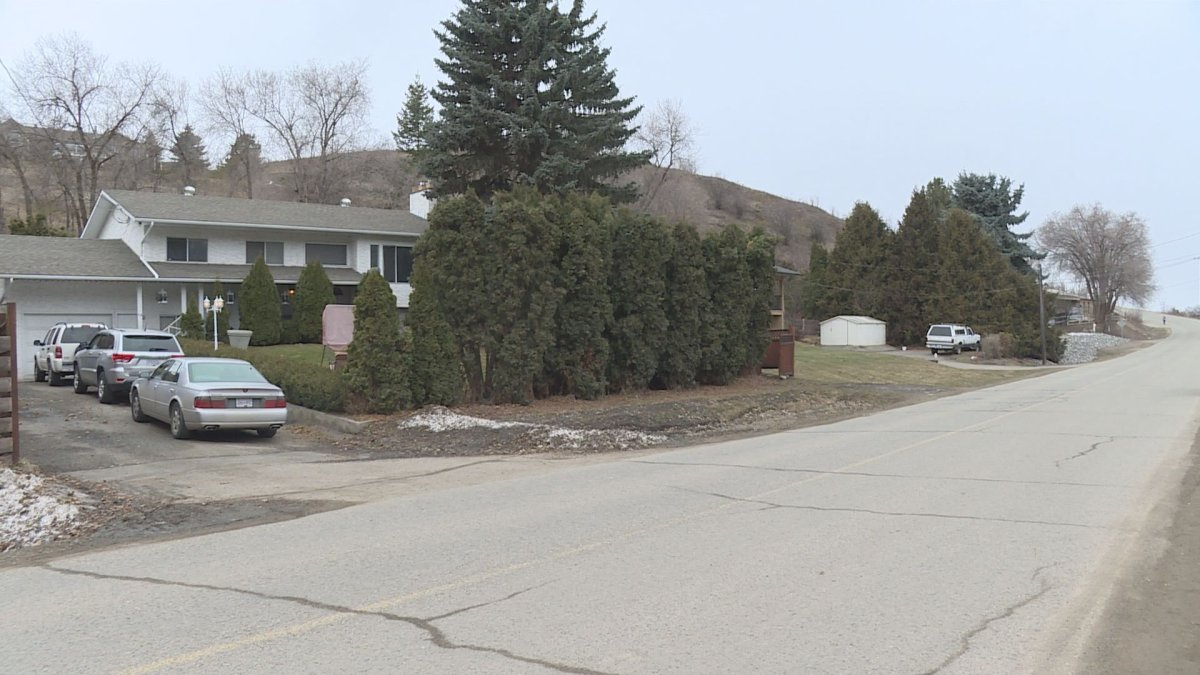 The street in the 700 block of 39th Avenue where an alleged break-and-enter resulted in several people being injured in Vernon on Saturday.