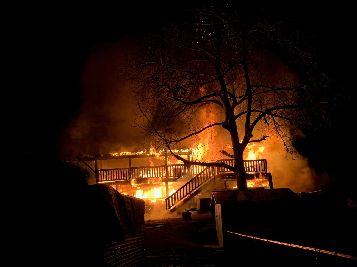 A house on Ponderosa Road in West Kelowna went up in flames just after 3 a.m., on Thursday.