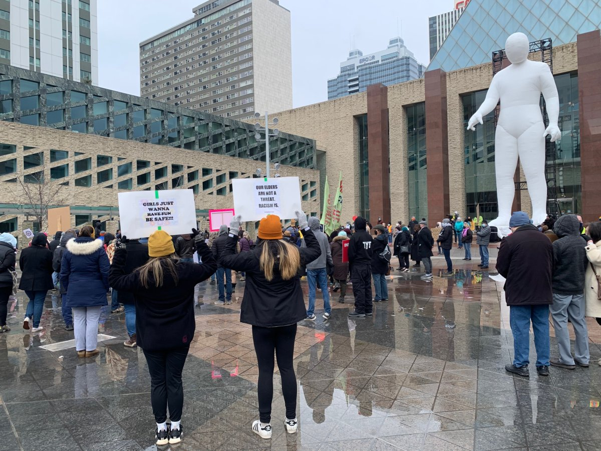 An anti-racism rally is held in downtown Edmonton, March 27, 2021.