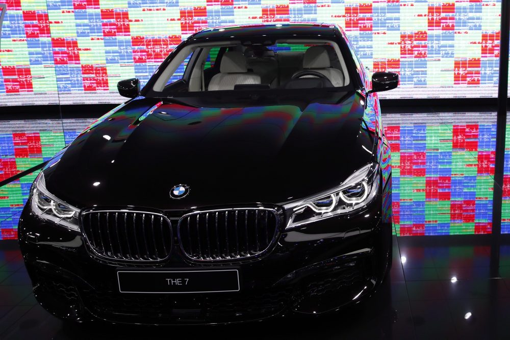 A BMW serie 7 is on display at the Auto show in Paris, France, Wednesday, Oct. 3, 2018, 2018.
