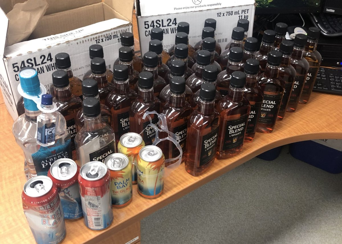 """RCMP say they seized a """"large quantity"""" of beverage alcohol passing through the Moose Island checkpoint and heading toward Wollaston Lake, Sask., last week."""