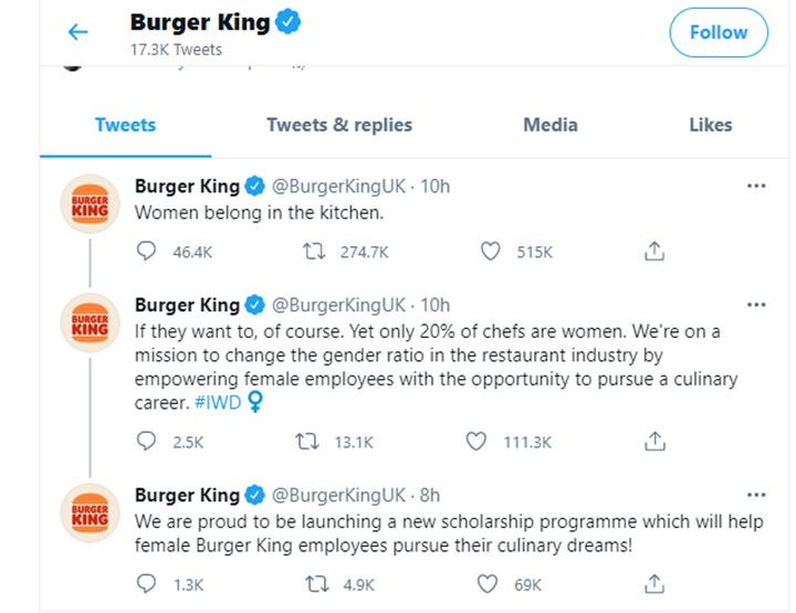 Burger King gets grilled for 'women belong in the kitchen' tweet - National    Globalnews.ca