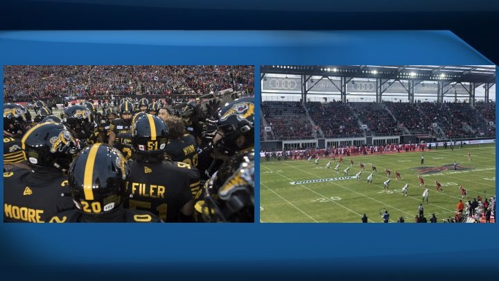 (PHOTO ON THE LEFT) The Hamilton Tiger Cats huddle up prior to the kick-off at the 107th Grey Cup against the Winnipeg Blue Bombers in Calgary, Alta., Sunday, November 24, 2019. (PHOTO ON THE RIGHT) The D.C. Defenders, right, line up against the Seattle Dragons for the opening kickoff of the opening football game of the XFL season, Saturday, Feb. 8, 2020, in Washington, DC.