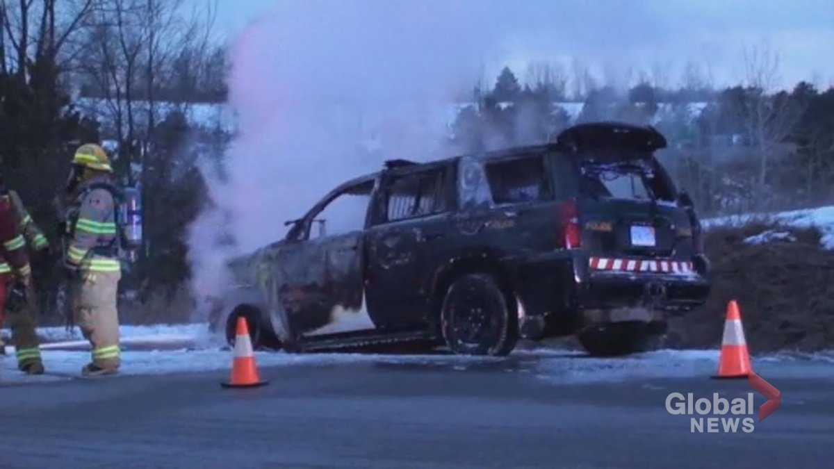 A Northumberland OPP cruiser caught on fire on Monday evening. No injuries were reported.