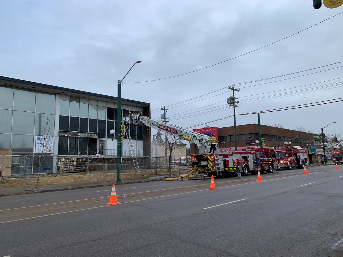 Edmonton fire crews battle a blaze in the area of 109 Street and 107 Avenue Wednesday, March 24, 2021.