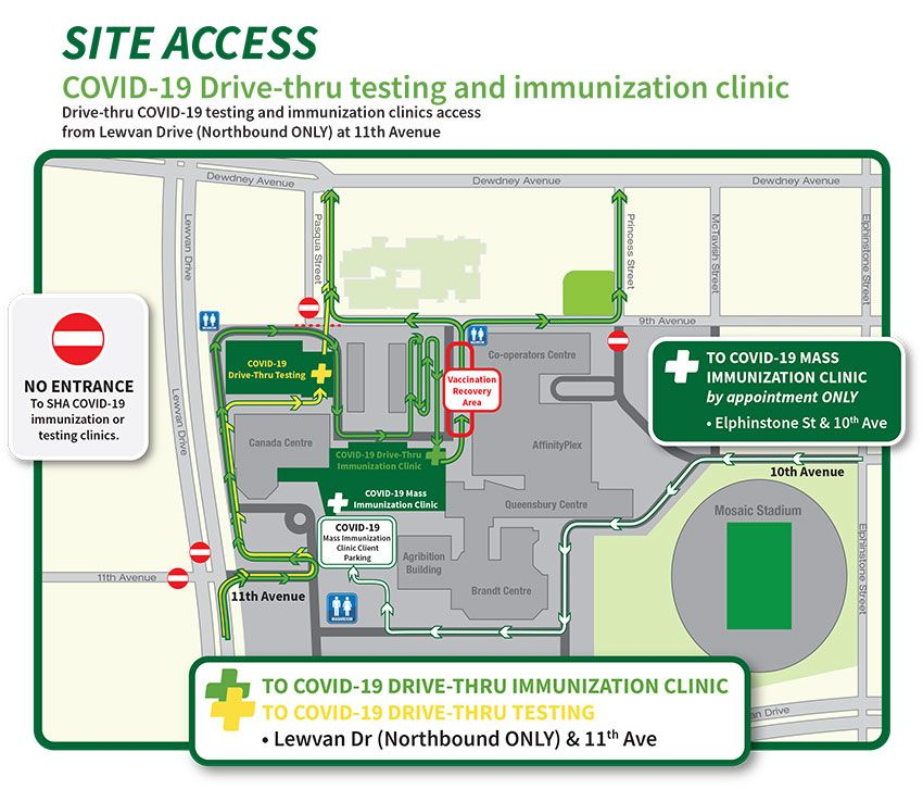 The Saskatchewan Health Authority released this map detailing the new traffic flow at Regina's coronavirus testing and immunization site at Evraz Place.