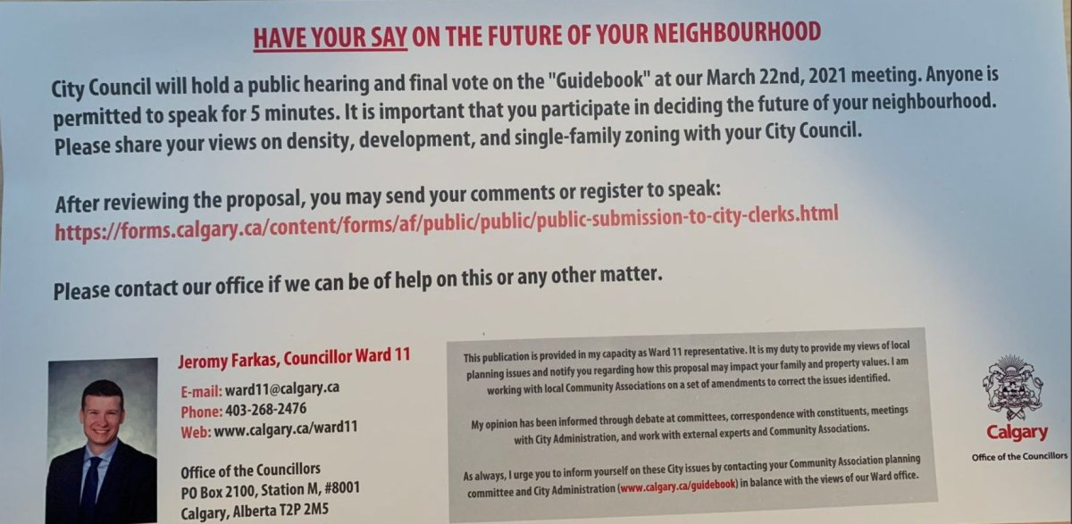 A copy of the flyer that has been alleged to have been sent outside the Ward 11 boundaries obtained by Global News.
