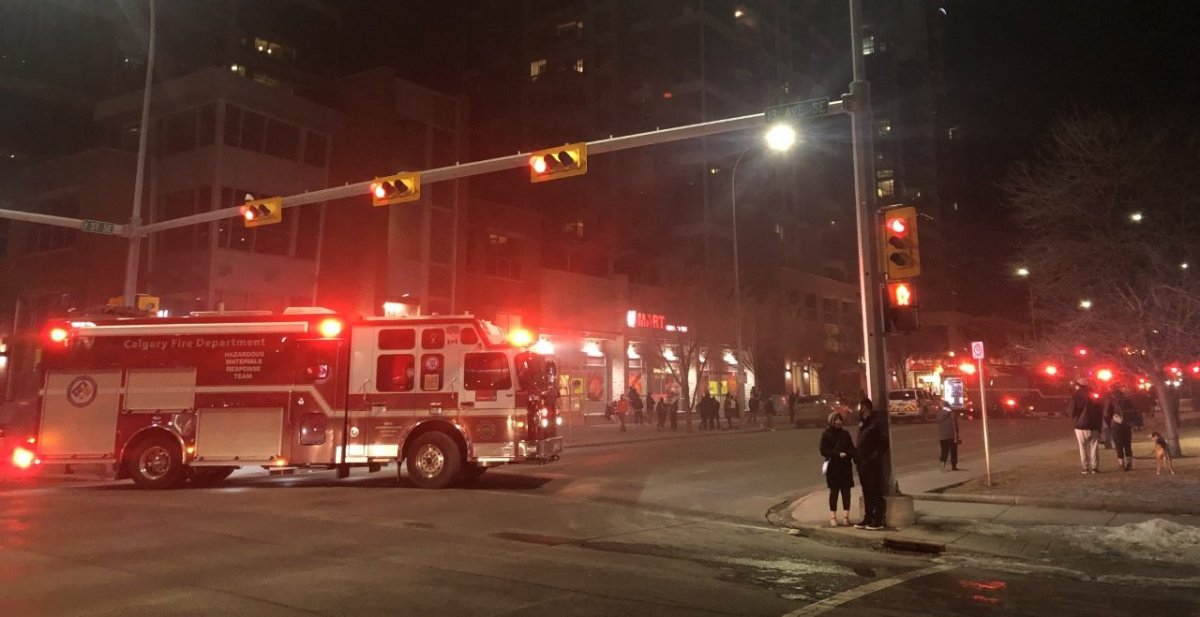 Emergency crews responded to a parkade fire in Calgary on Tuesday, March 9, 2021.