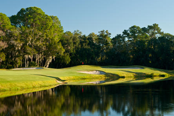 A pond is shown near the golf course at East Lake Woodlands Country Club in Oldsmar, Fla.