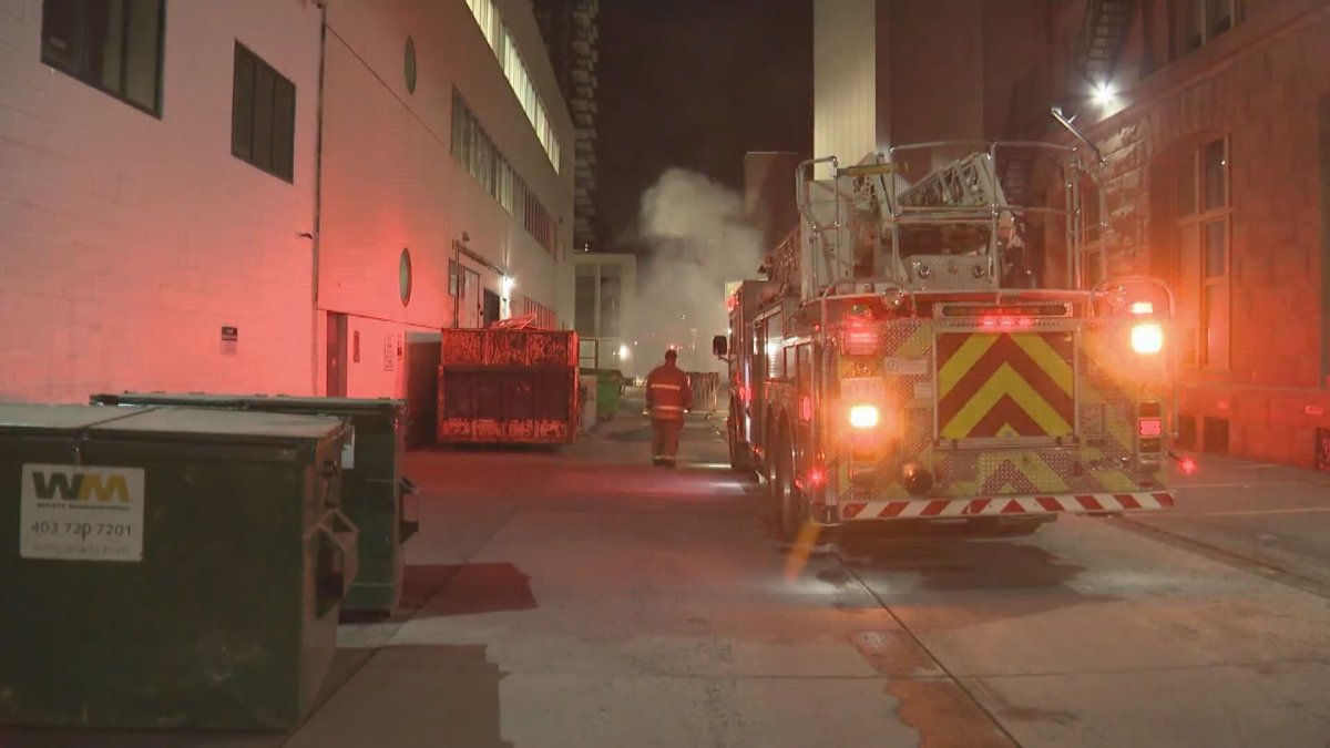Calgary police and firefighters responded to a string of dumpster fires on Wednesday, March 17, 2021.